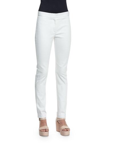 Hanne Mid-Rise Slim-Leg Jeans, White
