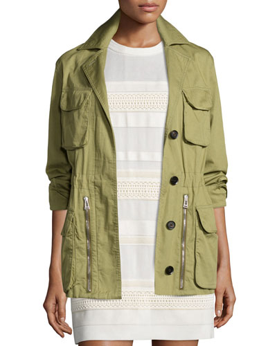 Military Drawstring-Waist Coat, Olive