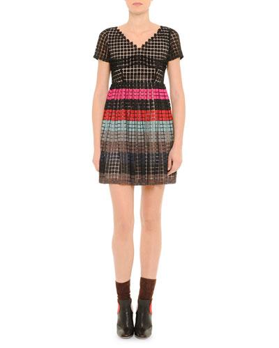 V-Neck Striped Full-Skirt Dress, Black Multi