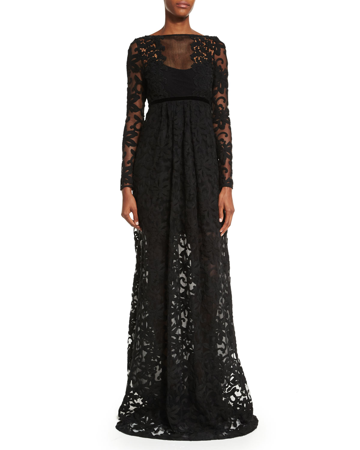Long-Sleeve Macrame Gown, Black