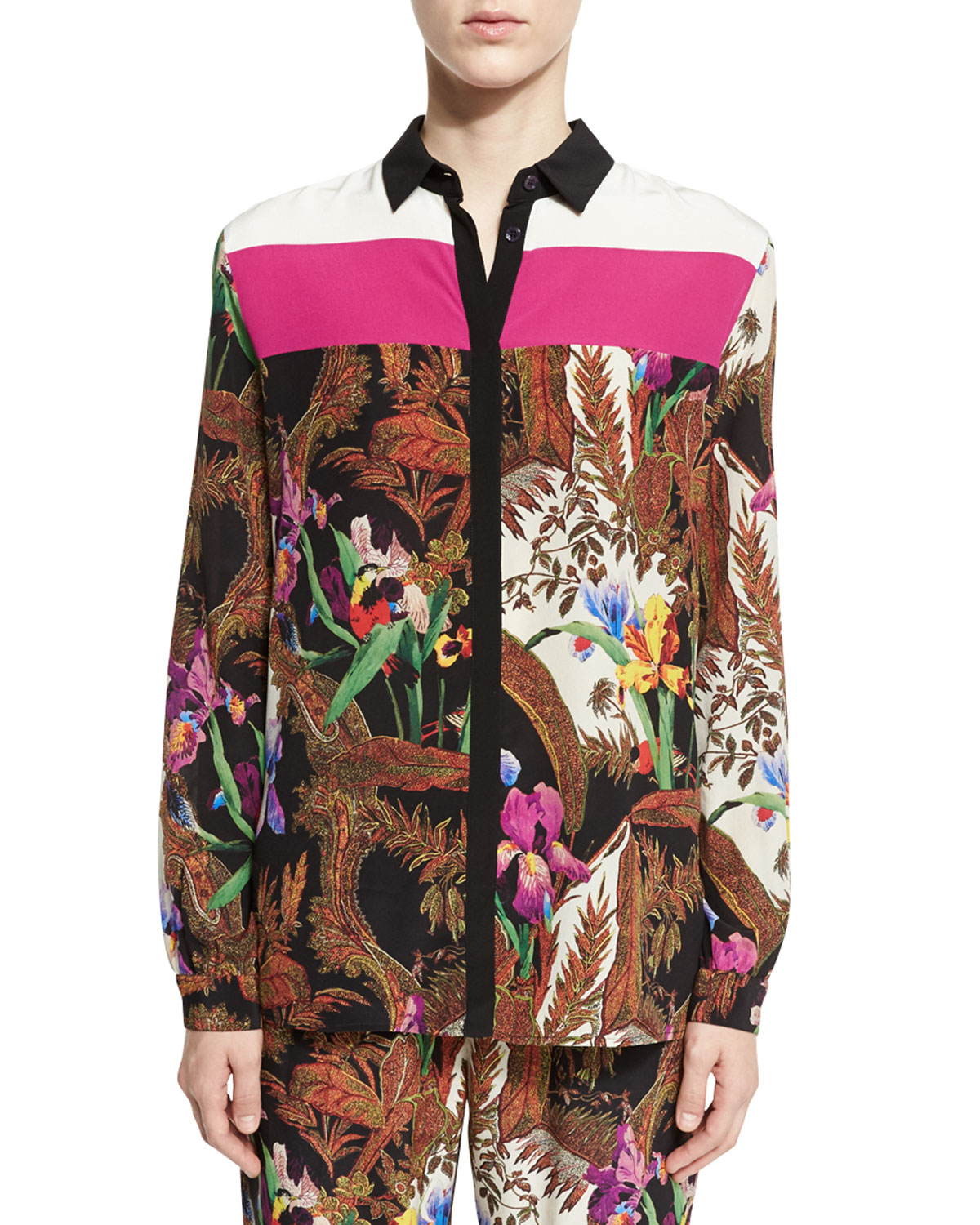 Colorblock Jungle-Print Blouse, Black/Multi