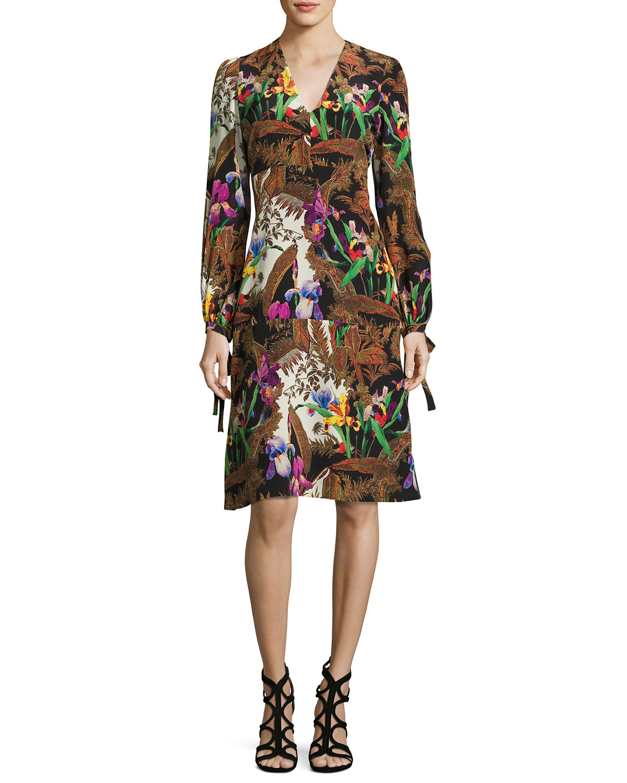 Jungle-Print Tie Long-Sleeve Dress, Black