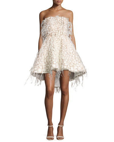 Strapless Feather-Embellished Cocktail Dress, Multi