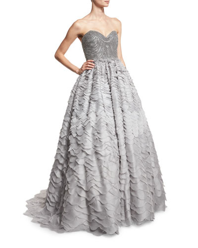 Strapless Sweetheart Taffeta Ball Gown, Gray Blue
