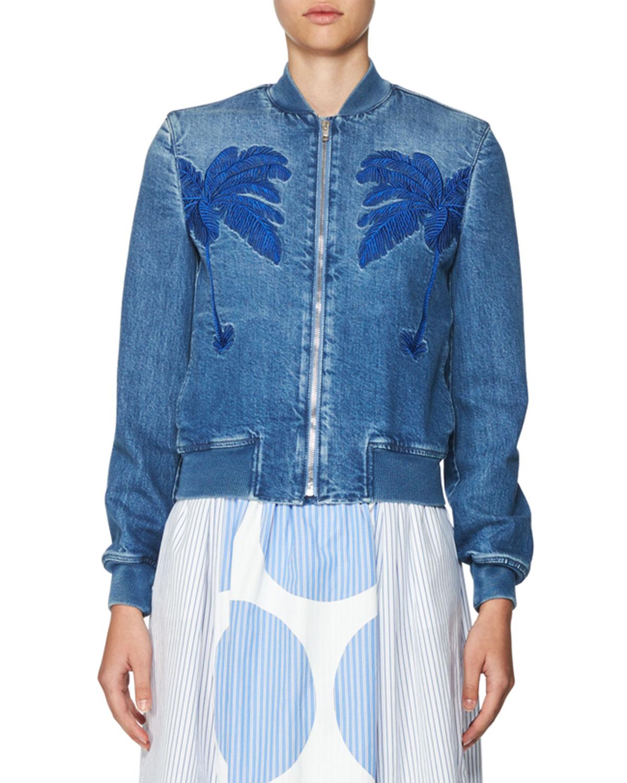 Embroidered Denim Bomber Jacket, Blue