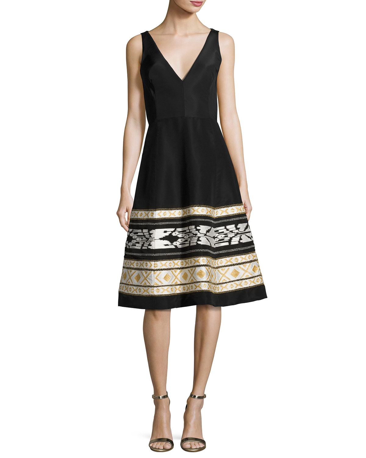 Ikat-Embroidered Faille Cocktail Dress, Black/White
