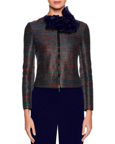 Woven Leather Zip Jacket, Multi