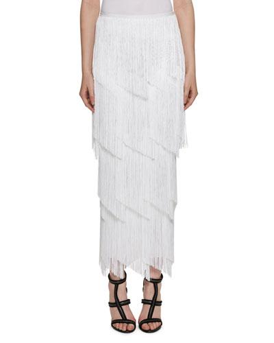 Tiered-Fringe Maxi Skirt, White