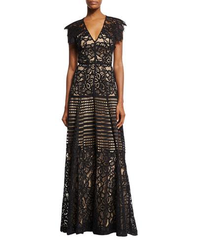 Floral Corded V-Neck Gown, Black