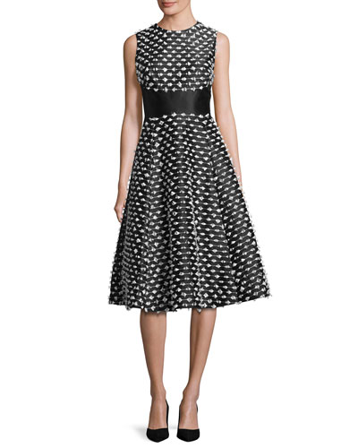 Juliet Cut-Fringe Sleeveless Satin Dress, Black