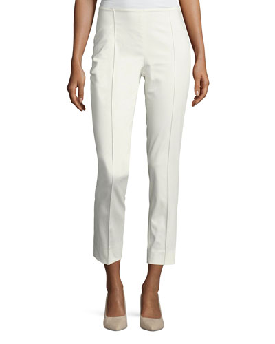 Cropped Side-Zip Ankle Pants, White