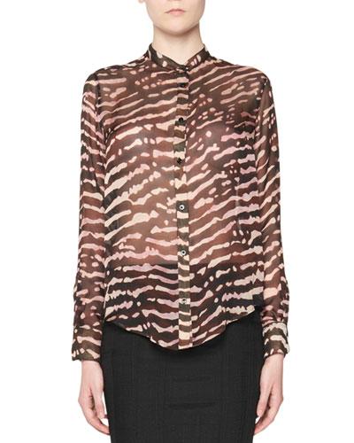 Animal-Print Silk Blouse, Multi