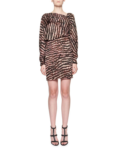Animal-Print V-Back Blouson Dress, Multi