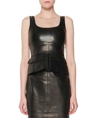 Stitched Leather Peplum Top, Black