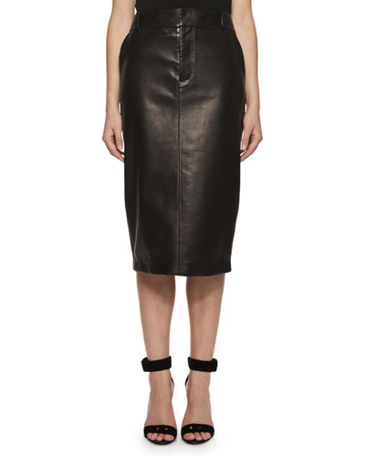 Perforated Leather Pencil Skirt, Black