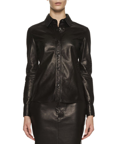 Perforated Leather Blouse, Black