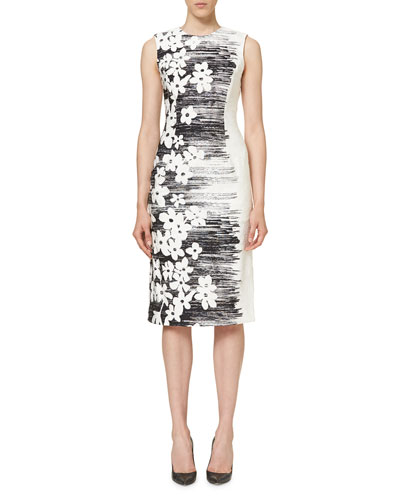 Sleeveless Floral Sheath Dress, Black/White
