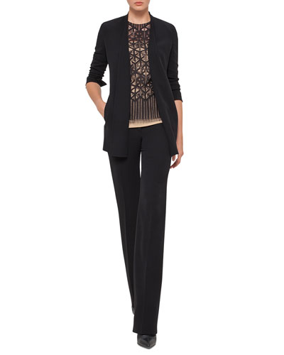 Carla Double-Face Straight-Leg Pants, Black