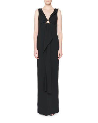Sleeveless Silk Marocain Column Gown, Black