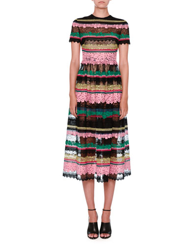 Striped-Lace Short-Sleeve Cocktail Dress