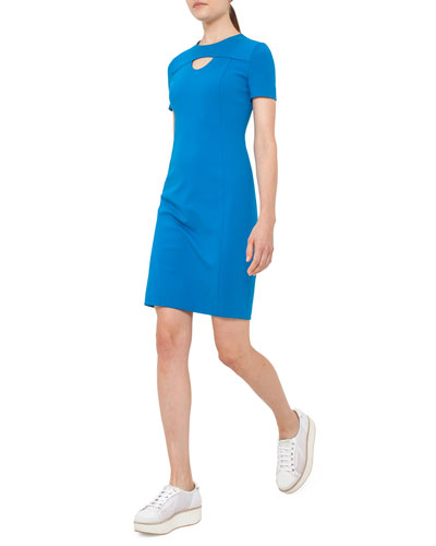 Short-Sleeve Cutout Jersey Shift Dress, Azure