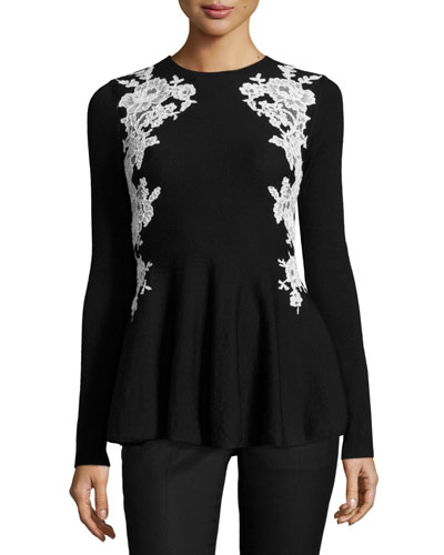 Lace-Trim Knit Peplum Sweater