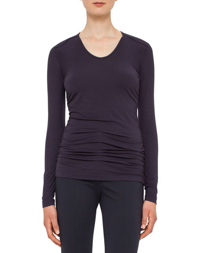 Long-Sleeve Lightweight Jersey Top, Deep Blue