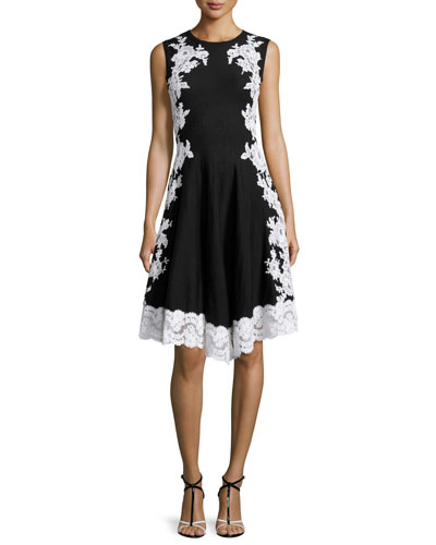 Lace-Applique Fit-and-Flare Dress, Black/White