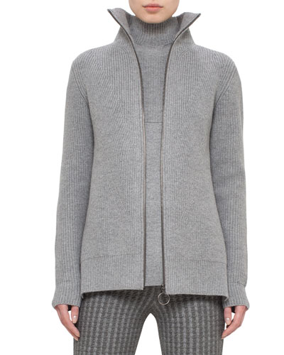 Ribbed Zip-Front Cardigan, Cliff