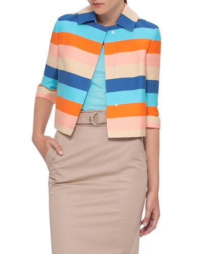 Striped Sateen 3/4-Sleeve Jacket, Turquoise
