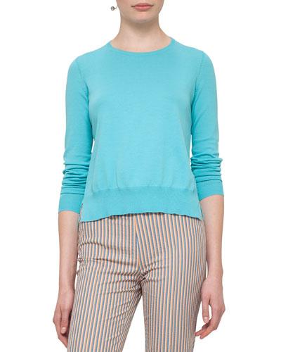 Ruffled-Hem Cotton Sweater