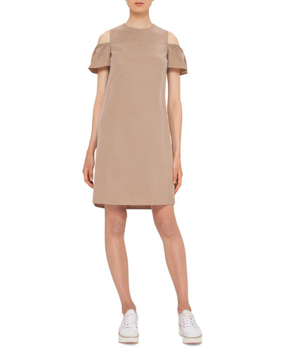 Cap-Sleeve Cold-Shoulder Shift Dress, Sand