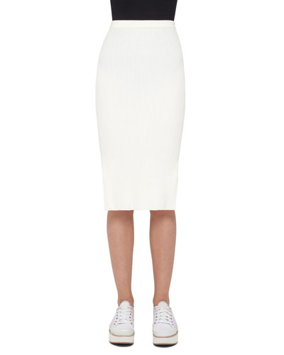 Ribbed Knit Pencil Skirt, Cream