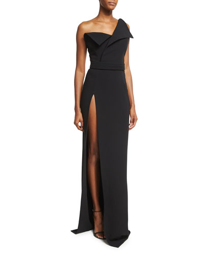 Fold-Over High-Slit Gown, Black