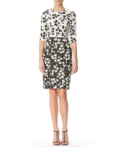 Leaf-Print Tweed Half-Sleeve Dress, White/Black