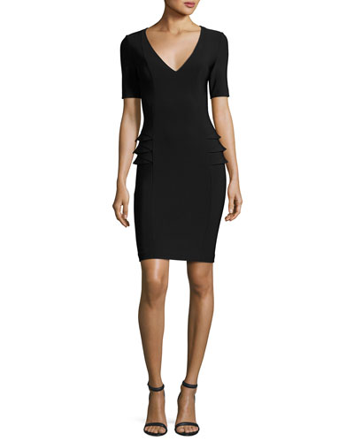 Half-Sleeve Milano Knit Dress, Black