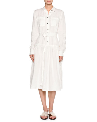 Long-Sleeve Washed Linen Shirtdress, White