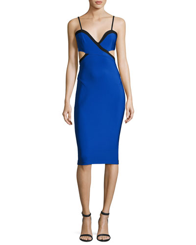 Cutout Cross-Front Midi Dress, Blue/Black