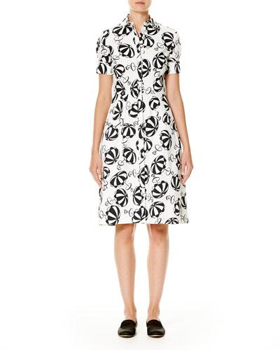 Umbrella-Print Short-Sleeve Shirtdress, Black/White