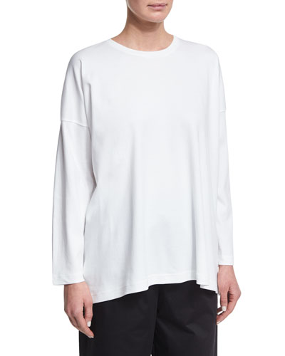 Long-Sleeve Crewneck Cotton T-Shirt
