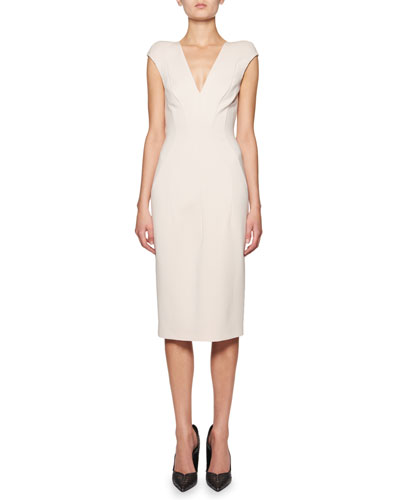 Seamed Cap-Sleeve V-Neck Sheath Dress
