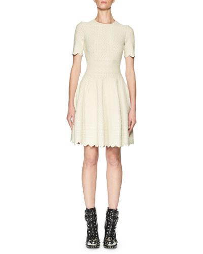 Jacquard Short-Sleeve Fit & Flare Dress