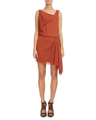 Sleeveless Draped Mini Dress, Rust