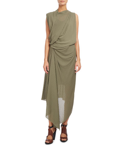 Draped Cowl-Neck Midi Dress, Sage