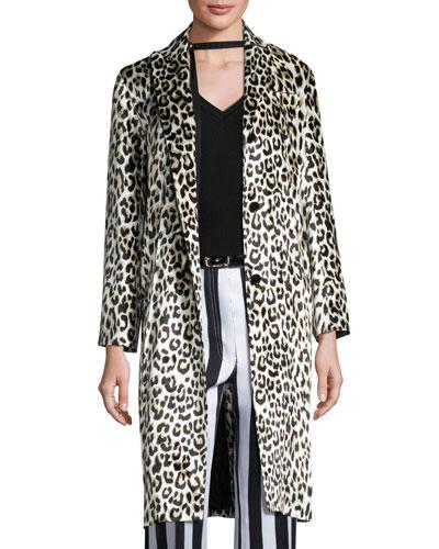 Leopard-Print Three-Button Coat