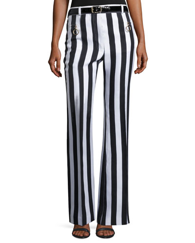 Striped Sateen Wide-Leg Pants, White/Blue
