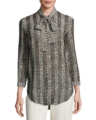 Striped Leopard-Print Silk Blouse