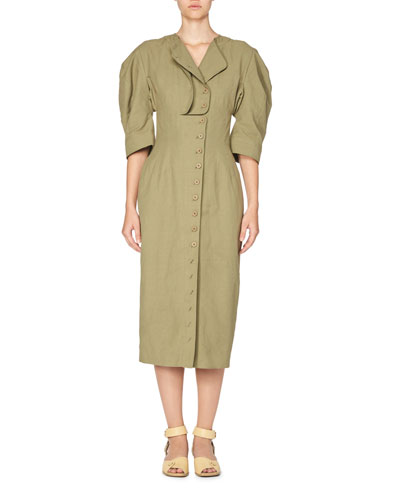 Puff-Sleeve Button-Front Dress, Olive