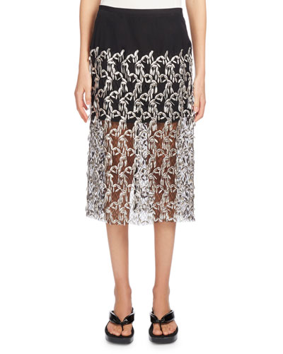 Sloane Embroidered Lace Skirt, Silver