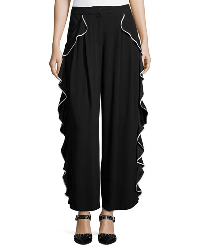 Tipped Ruffle-Trim Pants, Black